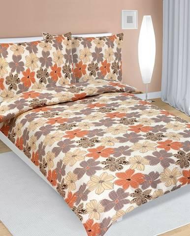 Bellatex Krepové obliečky Kvety medová, 140 x 200 cm, 70 x 90 cm