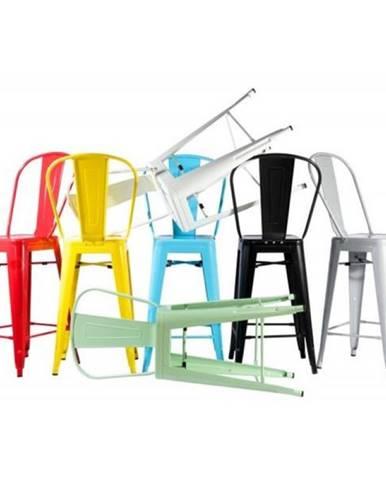 ArtD Barová stolička Paris Back inšpirovaná Tolix metalická