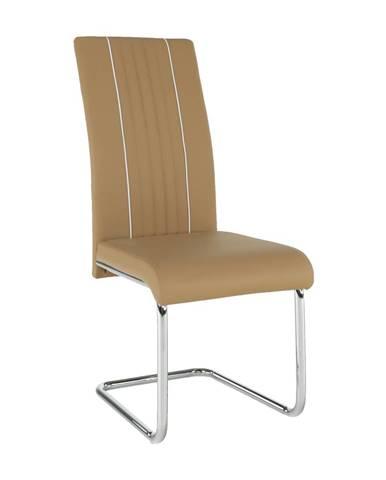 Jedálenská stolička ekokoža béžová/biela/chróm LESANA rozbalený tovar