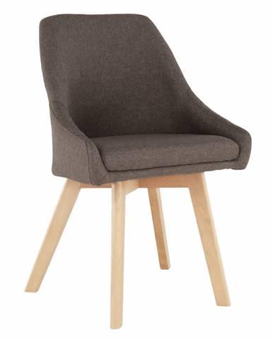 Jedálenská stolička hnedá látka/buk TEZA