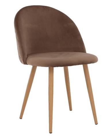 Jedálenská stolička svetlohnedá Taupe Velvet látka FLUFFY