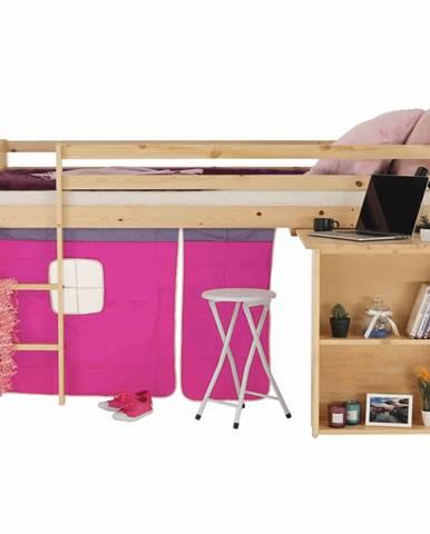 Posteľ s PC stolom borovicové drevo/ružová 90x200 ALZENA