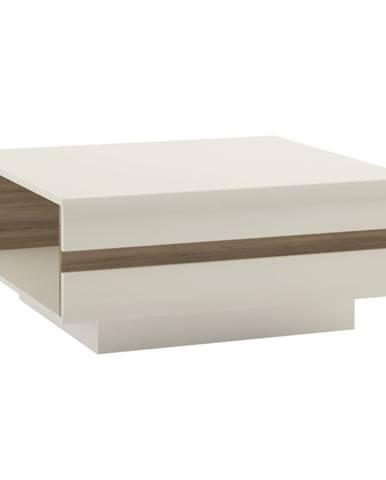 Konferenčný stolík biela extra vysoký lesk HG/dub sonoma tmavý truflový LYNATET TYP 70 rozbalený tovar