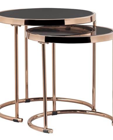 Set 2 konferenčných stolíkov rose gold chróm ružová/čierna MORINO rozbalený tovar