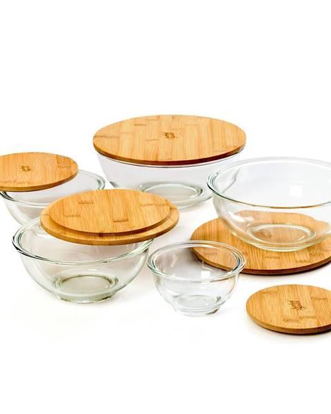 Klarstein Klarstein Sklenená misa, súprava 5 kusov, bambusový vrchnák, uzatvárateľné, bez BPA, dajú sa vkladať do seba