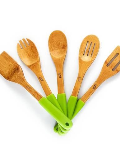 Klarstein Kuchynské príslušenstvo, súprava 5 kusov, obracačka, silikónové rúčky, udržateľné, bambus
