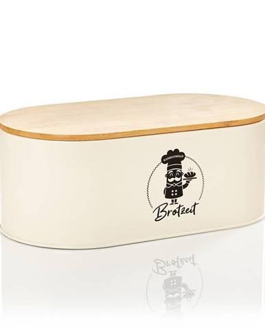 Klarstein Rök, chlebovnica, plech, bambusový vrchnák, 33,5 × 13 × 18 cm (Š × V × H), oblá