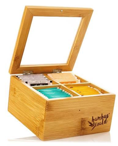 Klarstein Škatuľka na čaj, 4 priečinky, 60 čajových vrecúšok, priehľadné plastové okienko, bambus