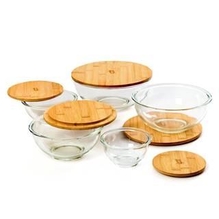 Klarstein Sklenená misa, súprava 5 kusov, bambusový vrchnák, uzatvárateľné, bez BPA, dajú sa vkladať do seba