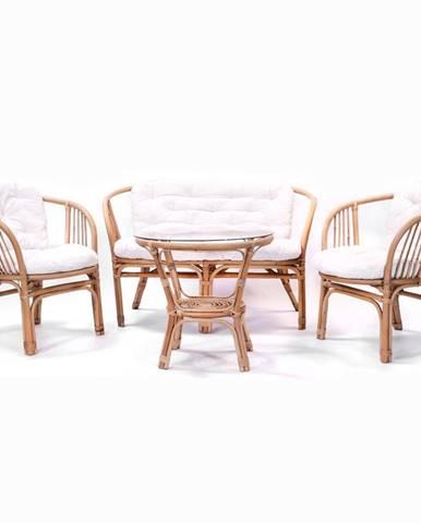 Súprava záhradného nábytku rattan Tropicana 1+2+1 prírodná/béžová