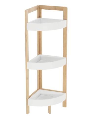 Rohový regál biela/prírodný bambus FONG