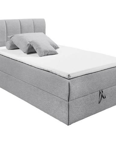 MID.YOU POSTEĽ BOXSPRING, 120/200 cm, textil, kompozitné drevo, sivá - sivá