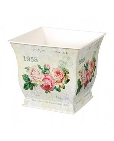 Plechový obal na kvetináč Kvety ruží, 13 x 12 x 13 cm