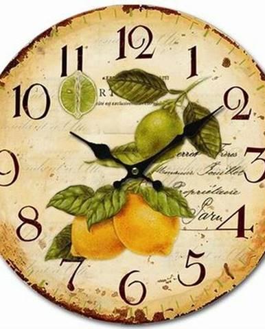 Drevené nástenné hodiny Vintage lemons, pr. 34 cm