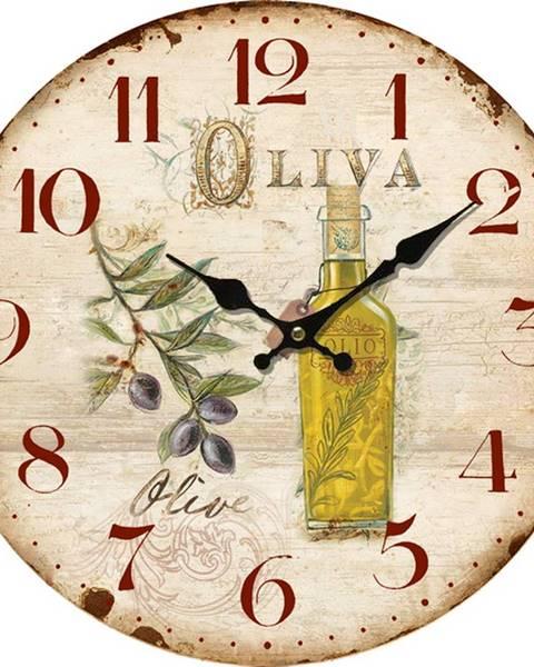 Banquet Drevené nástenné hodiny La oliva , pr. 34 cm
