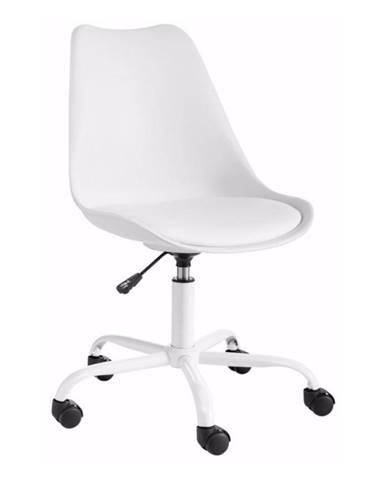Biela nastaviteľná kancelárska stolička Støraa Dan