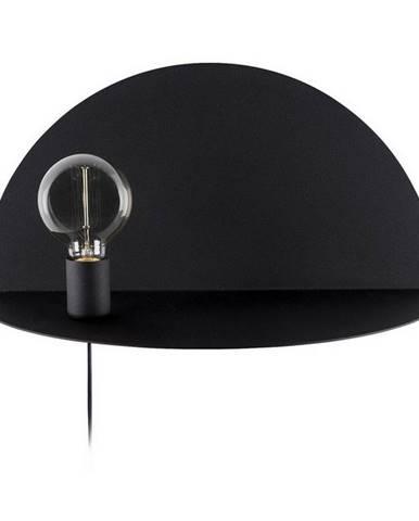 Čierne nástenné svietidlo s poličkou Homemania Decor Shelfie