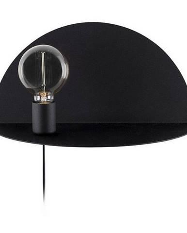 Čierne nástenné svietidlo s poličkou Homemania Decor Shelfie, dĺžka 20 cm