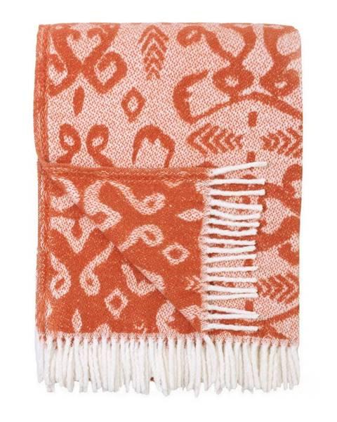Euromant Oranžový pléd s podielom bavlny Euromant Mykonos, 140 x 180 cm