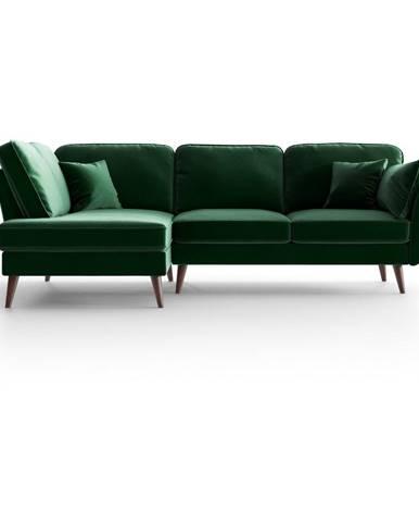 Zelená zamatová rohová pohovka My Pop Design Auteuil, levý roh