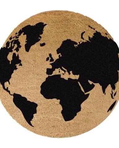 Čierna okrúhla rohožka z prírodného kokosového vlákna Artsy Doormats Gloge, ⌀ 70 cm