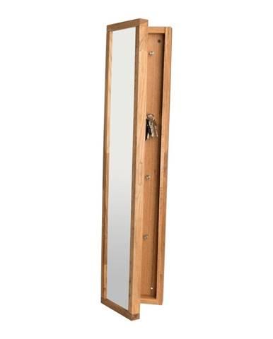 Prírodná dubová skrinka na kľúče sozrkadlom Rowico Sol