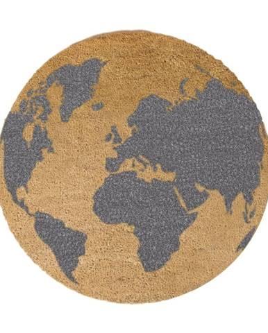 Sivá okrúhla rohožka z prírodného kokosového vlákna Artsy Doormats Gloge, ⌀ 70 cm