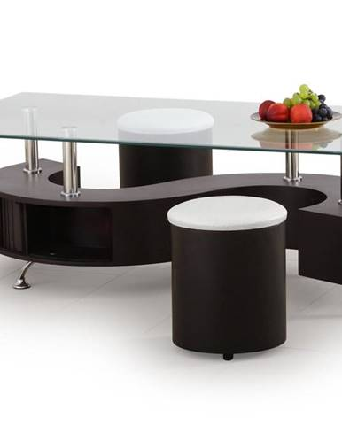 Nina HU sklenený konferenčný stolík s taburetkami wenge