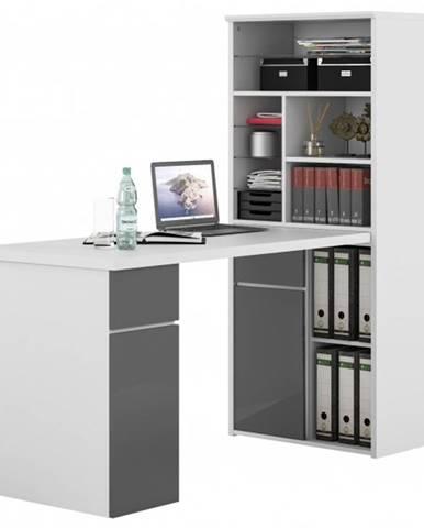Písací stôl s regálom BENJAMIN biela/sivá vysoký lesk