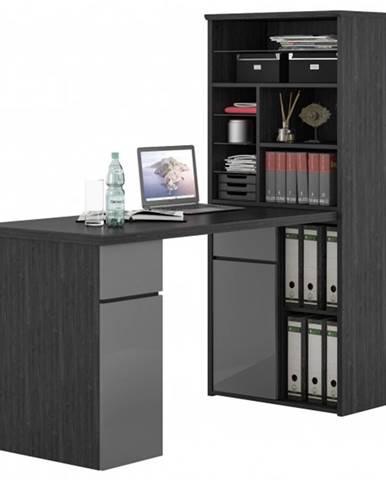 Písací stôl s regálom BENJAMIN dub ash/sivá vysoký lesk