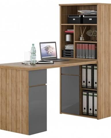 Písací stôl s regálom BENJAMIN dub riviera/sivá vysoký lesk