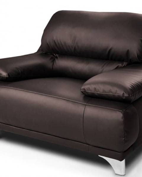 OKAY nábytok Kožené kreslo Grato tmavo hnedá