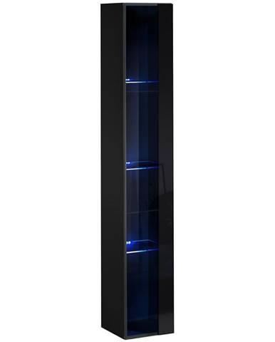 Závesná skrinka Switch Sklo WW1 čierna +LED