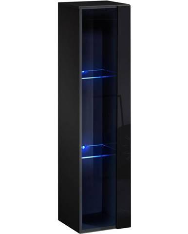 Závesná skrinka Switch WW2 čierna +LED