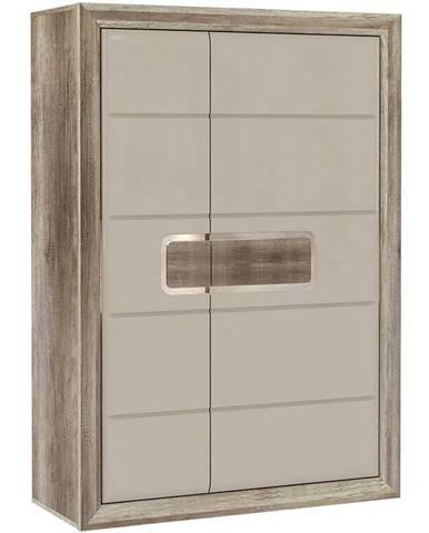 Skrinka Tiziano 109x155 starožitný dub/béžová