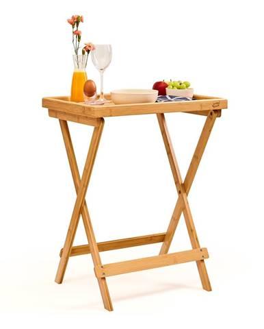 Blumfeldt Príručný raňajkový stolík, ľahký, 50 × 66 × 38 cm, udržateľný, bambus