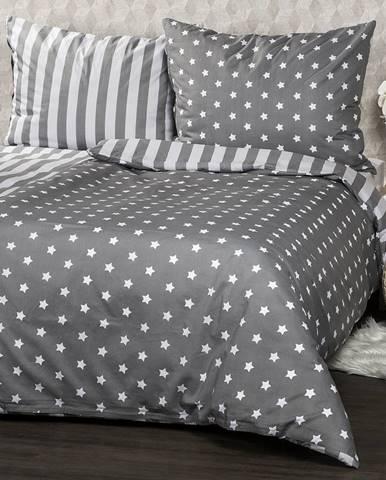 4Home Bavlnené obliečky Stars sivá, 140 x 200 cm, 70 x 90 cm