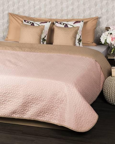 4Home 4Home Prehoz na posteľ Doubleface béžová/ružová, 220 x 240 cm, 2x 40 x 40 cm
