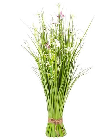 Väzba umelých lúčnych kvetov s margarétkami, 70 cm, bielo-ružová