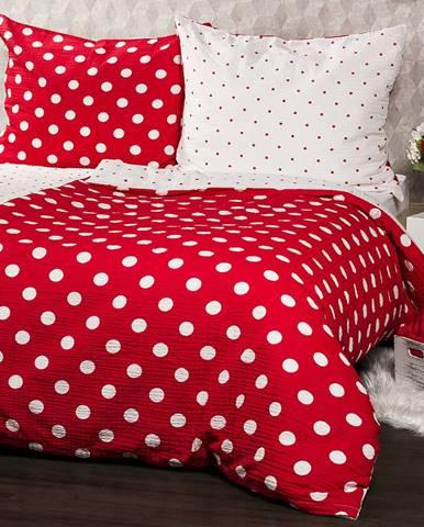 4Home Krepové obliečky Červená bodka, 160 x 200 cm, 70 x 80 cm