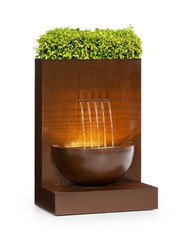 Blumfeldt Windflower, záhradná fontána s kvetináčom, 11 W, pozinkovaný kov, hnedá