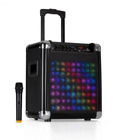 "Auna Moving 80.2 LED, PA systém, 8"" woofer, 100 W max., VHF mikrofón, USB, SD, BT, AUX, prenosný"