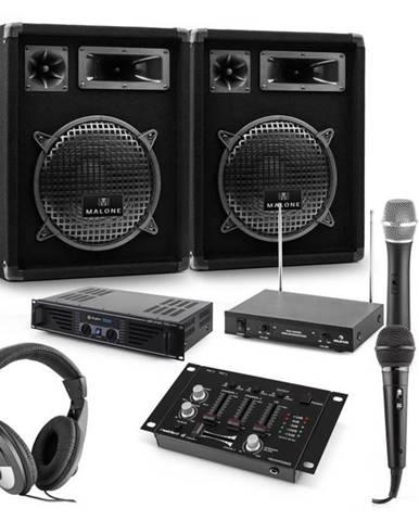 Auna PA sada Mannheim, 7-dielna DJ sada | 2 x 3-pásmový reproduktor | zosilňovač | mixážny pult