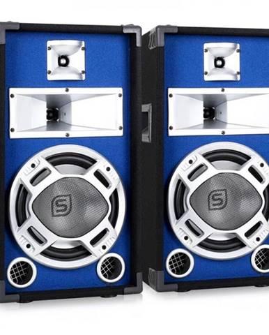 Skytec pár 25 cm PA reproduktor, svetelný efekt modrý, 2 x 400 W reproduktory