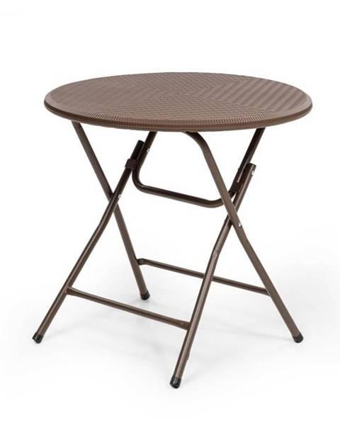 Blumfeldt Blumfeldt Burgos Round, skladací stôl, polyratan, 80 cm Ø plocha stola, 4 osoby, hnedý