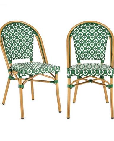 Blumfeldt Montbazin GR, stolička, možnosť ukladať stoličky na seba, hliníkový rám, polyratan, zelená