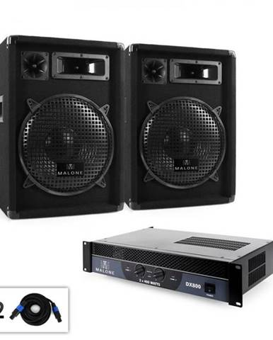 """DJ PA sada Malone 2.0 """"Club"""" so zosilňovačom, reproduktorom & káblom, 800 W"""
