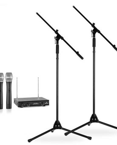 Electronic-Star Sada bezdrôtových mikrofónov so statívmi, 2 VHF rádiové mikrofóny, 2 stojany, čierne