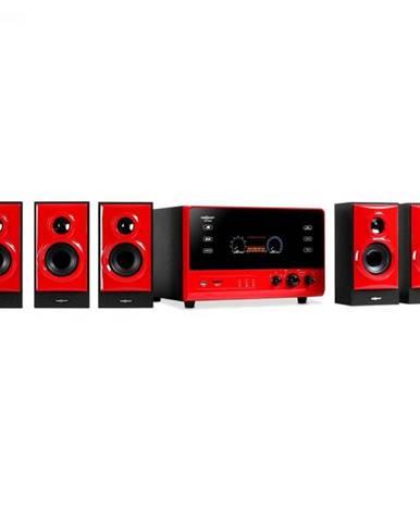 OneConcept V51, aktívny 5.1 systém, USB, SD, AUX, červený