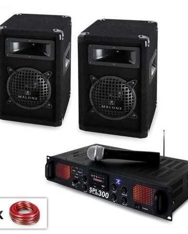 """PA sada """"Malone SPLVHF"""" 6,5'' reproduktory, VHF mikrofón a zosilňovač, 300W"""